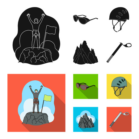 Helmet, goggles, wedge safety, peaks in the clouds.Mountaineering set collection icons in black,flat style vector symbol stock illustration web.