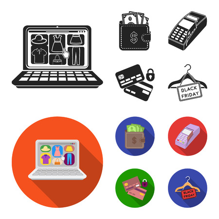 Purse, money, touch, hanger and other equipment. E commerce set collection icons in black,flat style vector symbol stock illustration web.