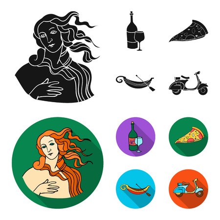 A bottle of wine, a piece of pizza, a gundola, a scooter. Italy set collection icons in black,flat style vector symbol stock illustration web. Ilustração