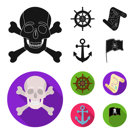 Pirate, bandit, rudder, flag .Pirates set collection icons in black,flat style vector symbol stock illustration web. Stok Fotoğraf - 107297908