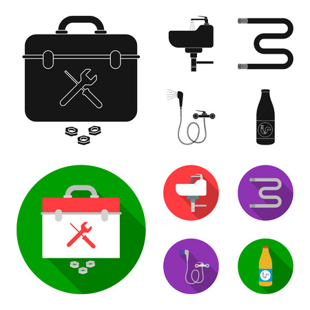 Washbasin, heated towel-dryer, mixer, showers and other equipment.Plumbing set collection icons in black,flat style vector symbol stock illustration web.