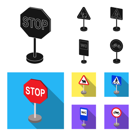 Different types of road signs black,flat icons in set collection for design. Warning and prohibition signs vector symbol stock web illustration.