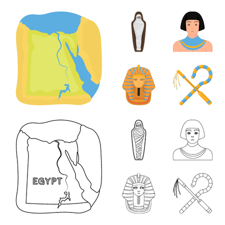 Crook and flail,a golden mask, an egyptian, a mummy in a tomb.Ancient Egypt set collection icons in cartoon,outline style vector symbol stock illustration web.