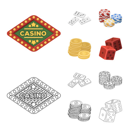 Domino bones, stack of chips, a pile of mont, playing blocks. Casino and gambling set collection icons in cartoon,outline style vector symbol stock illustration web.