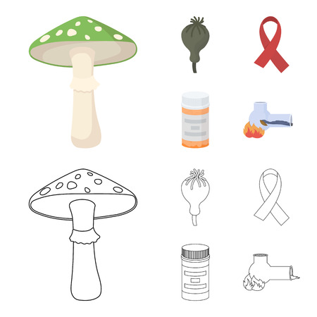 AIDS tape, tablets, opium poppy, a tube for hashish.Drug set collection icons in cartoon,outline style vector symbol stock illustration web. Illustration