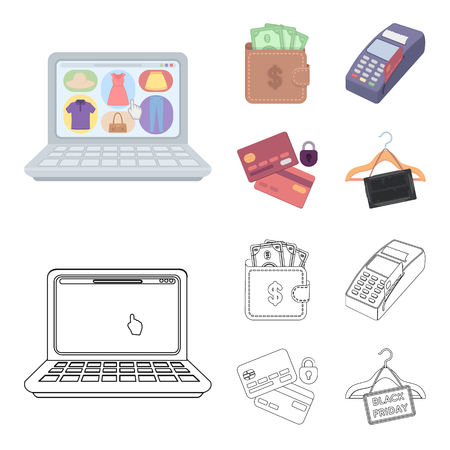 Purse, money, touch, hanger and other equipment. E commerce set collection icons in cartoon,outline style vector symbol stock illustration web.
