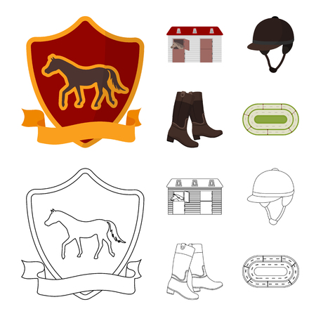 Boots, grass, stadium, track, rest .Hippodrome and horse set collection icons in cartoon,outline style vector symbol stock illustration web.