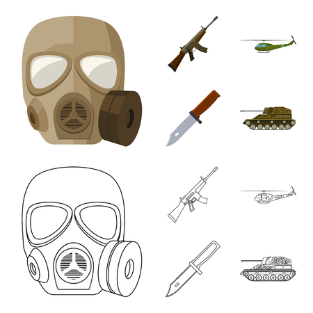 Assault rifle M16, helicopter, tank, combat knife. Military and army set collection icons in cartoon,outline style vector symbol stock illustration web.