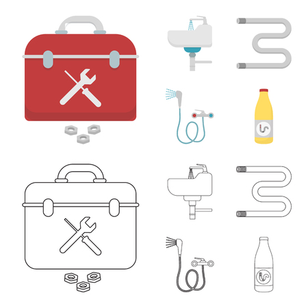 Washbasin, heated towel-dryer, mixer, showers and other equipment.Plumbing set collection icons in cartoon,outline style vector symbol stock illustration web.