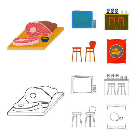 TV, bar counter, chairs and armchairs, potato chips.Pub set collection icons in cartoon,outline style vector symbol stock illustration web. Illustration