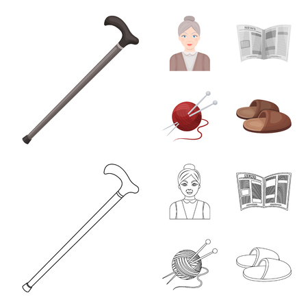 An elderly woman, slippers, a newspaper, knitting.Old age set collection icons in cartoon,outline style vector symbol stock illustration web. Illustration
