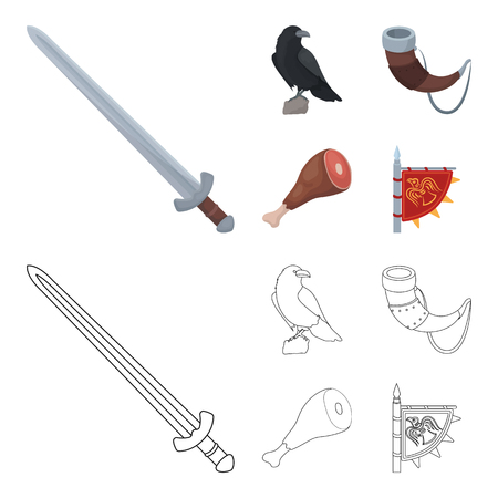 Sitting crow, horn with drink, ham, victory flag. Vikings set collection icons in cartoon,outline style vector symbol stock illustration web.