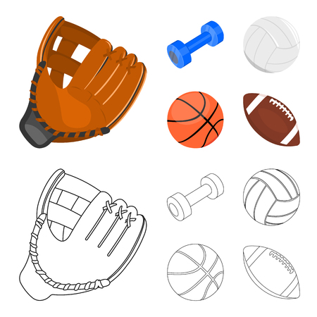 Blue dumbbell, white soccer ball, basketball, rugby ball. Sport set collection icons in cartoon,outline ,flat style vector symbol stock illustration web. Illusztráció