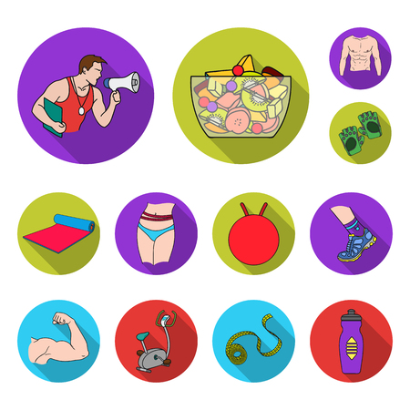 Fitness and attributes flat icons in set collection for design. Fitness equipment vector symbol stock web illustration.