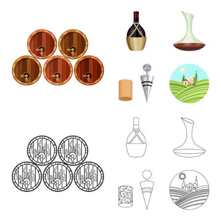 A bottle of wine in a basket, a gafine, a corkscrew with a cork, a grape valley. Wine production set collection icons in cartoon,outline style vector symbol stock illustration web. Foto de archivo - 107298656