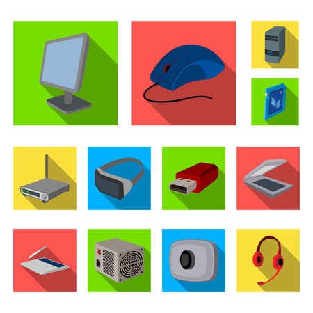 Personal computer flat icons in set collection for design. Equipment and accessories vector symbol stock web illustration. Ilustração