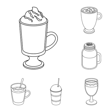 Different kinds of coffee outline icons in set collection for design. Coffee drink bitmap symbol stock web illustration.