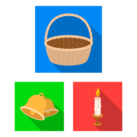 Easter is a Christian holiday flat icons in set collection for design. Easter attributes bitmap symbol stock web illustration.