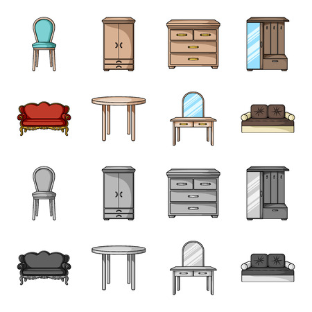Sofa, armchair, table, mirror .Furniture and home interiorset collection icons in cartoon,monochrome style bitmap symbol stock illustration web. Stock Illustration - 107298839