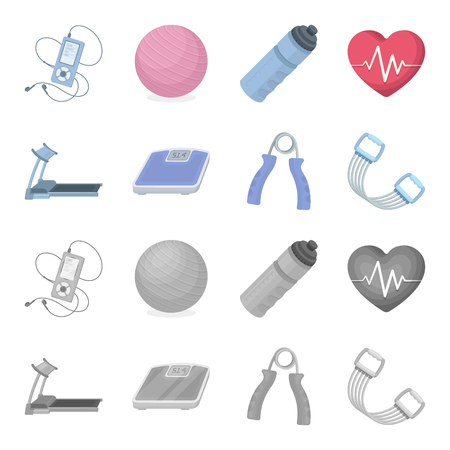 Treadmill, scales, expander and other equipment for training.Gym and workout set collection icons in cartoon,monochrome style bitmap symbol stock illustration web.