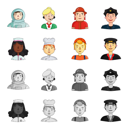 A nurse , a cook , a builder , a taxi driver . People of different professions set collection icons in cartoon,monochrome style bitmap symbol stock illustration web. Zdjęcie Seryjne