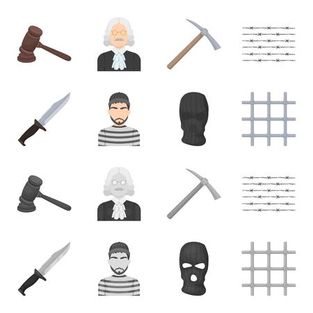 Knife, prisoner, mask on face, steel grille. Prison set collection icons in cartoon,monochrome style bitmap symbol stock illustration web.