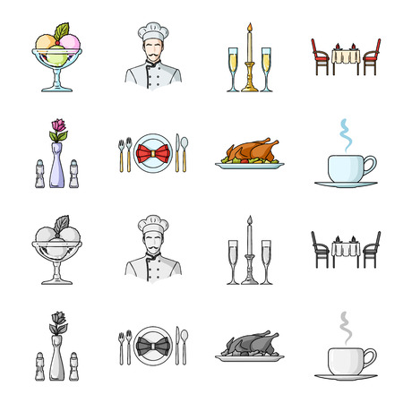 Vase with a flower, table setting, fried chicken with garnish, a cup of coffee.Restaurant set collection icons in cartoon,monochrome style bitmap symbol stock illustration web.