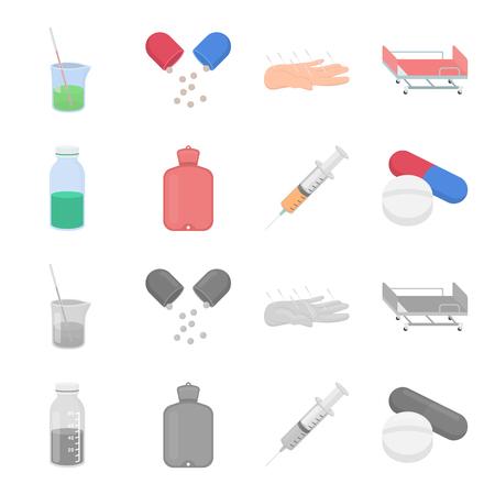 Solution, warmer, syringe, pills.Medicine set collection icons in cartoon,monochrome style bitmap symbol stock illustration web.