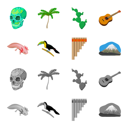 Sampono Mexican musical instrument, a bird with a long beak, Orizaba is the highest mountain in Mexico, axolotl is a rare animal. Mexico country set collection icons in cartoon,monochrome style bitmap symbol stock illustration web.