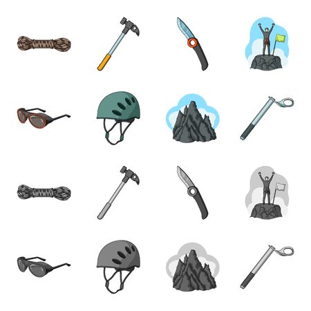 Helmet, goggles, wedge safety, peaks in the clouds.Mountaineering set collection icons in cartoon,monochrome style bitmap symbol stock illustration web.