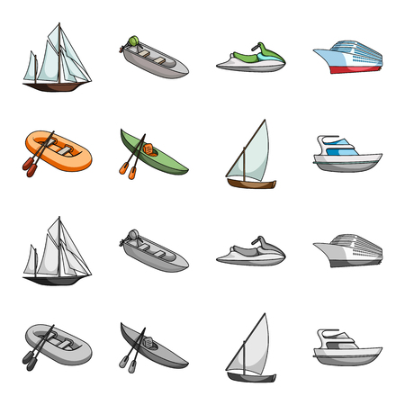 A rubber fishing boat, a kayak with oars, a fishing schooner, a motor yacht.Ships and water transport set collection icons in cartoon,monochrome style bitmap symbol stock illustration web.