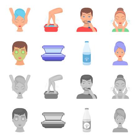 Face mask, solarium, bottle ts lasenom, pimples on face. Skin Care set collection icons in cartoon,monochrome style bitmap symbol stock illustration web. Stockfoto