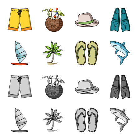 Board with a sail, a palm tree on the shore, slippers, a white shark. Surfing set collection icons in cartoon,monochrome style bitmap symbol stock illustration web. Stock Photo
