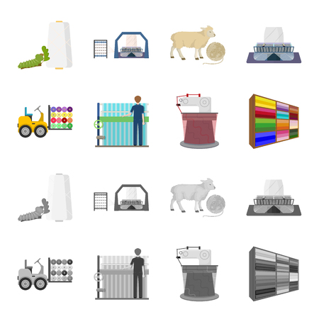 Equipment, machine, forklift and other web icon in cartoon,monochrome style.Textiles, industry, tissue, icons in set collection. Imagens