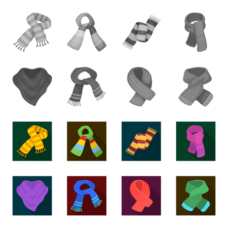Various kinds of scarves, scarves and shawls. Scarves and shawls set collection icons in monochrome,flat style bitmap symbol stock illustration web.