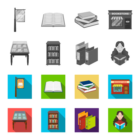 Library and bookstore monochrome,flat icons in set collection for design. Books and furnishings bitmap symbol stock web illustration.