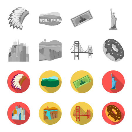 A megacity, a grand canyon, a golden gate bridge,donut with chocolate. The US country set collection icons in monochrome,flat style bitmap symbol stock illustration web. Stock Photo