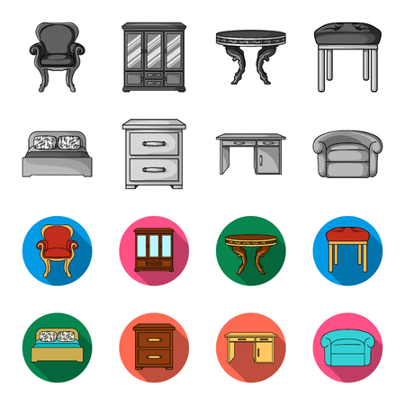 Interior, design, bed, bedroom .Furniture and home interiorset collection icons in monochrome,flat style bitmap symbol stock illustration web. Stockfoto