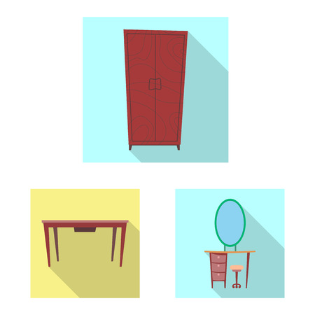 Vector illustration of furniture and apartment icon. Set of furniture and home stock vector illustration.