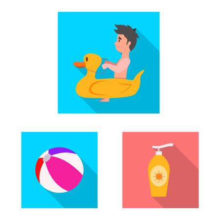 Isolated object of pool and swimming sign. Collection of pool and activity stock vector illustration.