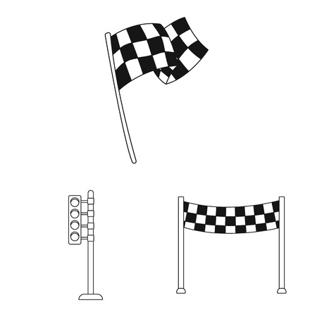 Vector illustration of car and rally sign. Set of car and race vector icon for stock. Illustration