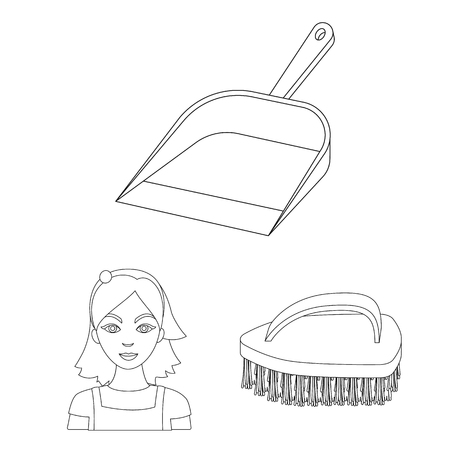Cleaning and maid outline icons in set collection for design. Equipment for cleaning vector symbol stock illustration. Ilustración de vector