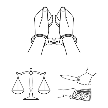 Crime and Punishment outline icons in set collection for design.Criminal vector symbol stock  illustration. Illustration