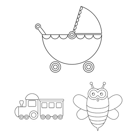 Children toy outline icons in set collection for design. Game and bauble vector symbol stock illustration.