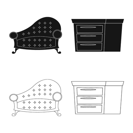 Vector design of furniture and apartment icon. Collection of furniture and home stock symbol for web.