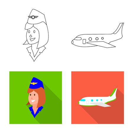 Vector design of airport and airplane icon. Collection of airport and plane stock symbol for web. Иллюстрация