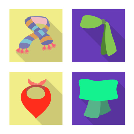 Vector design of scarf and shawl sign. Collection of scarf and accessory vector icon for stock.  イラスト・ベクター素材