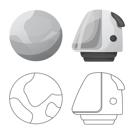 Vector illustration of mars and space sign. Collection of mars and planet stock vector illustration. Illusztráció