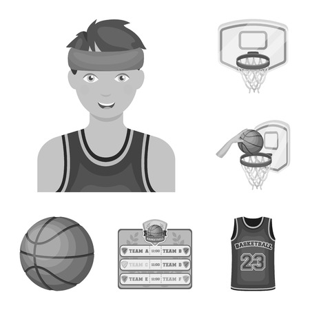 Basketball and attributes monochrome icons in set collection for design.Basketball player and equipment vector symbol stock web illustration.