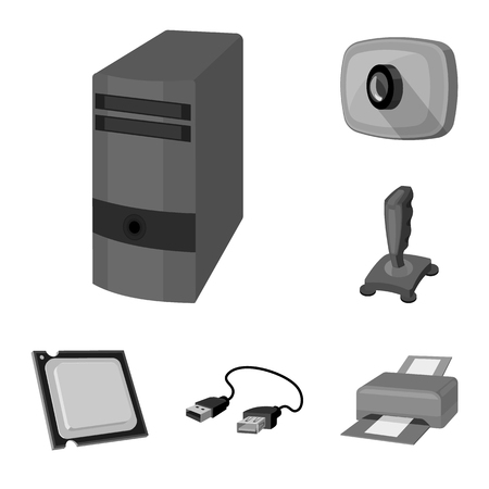 Personal computer monochrome icons in set collection for design. Equipment and accessories vector symbol stock web illustration.